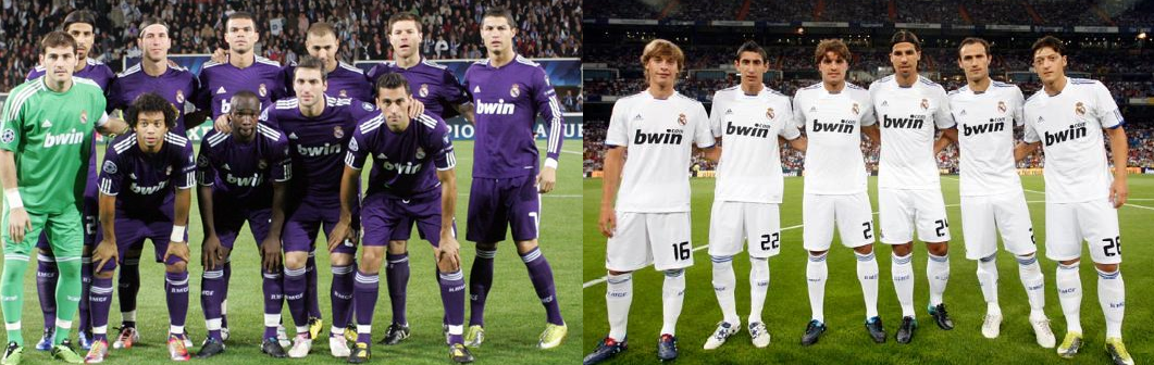Las camisetas del Real Madrid en la temporada 2010/11.