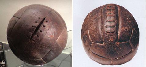 Estos fueron los dos balones de cuero utilizados para la final. El de la izquierda corresponde al que usó Argentina. El de la derecha, el modelo T es el que usaron la mayor parte de equipos, entre ellos, Argentina.