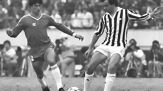 Platini in the final of the Copa Libertadores in Tokyo.