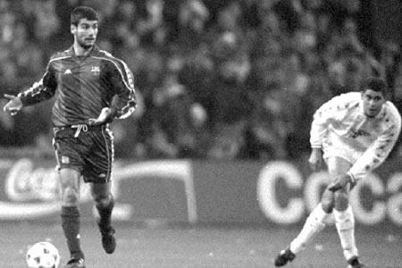 Pep Guardiola y Hierro, dos clásicos de este tipo de partidos.