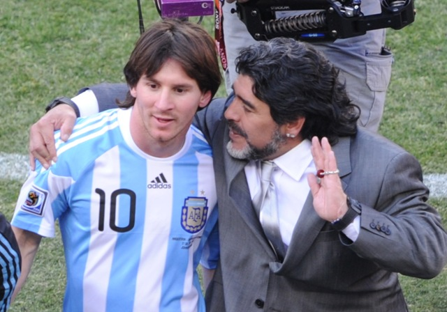 Maradona was coach of Messi in the World 2010 South Africa.