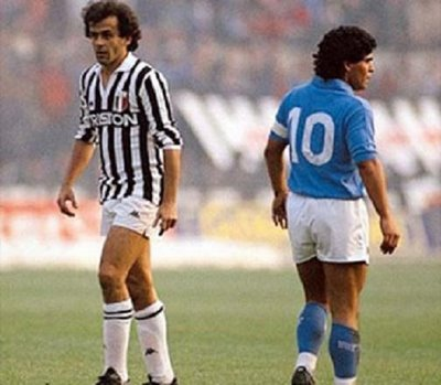 Platini and Maradona two top tens in history coincided in Serie A.