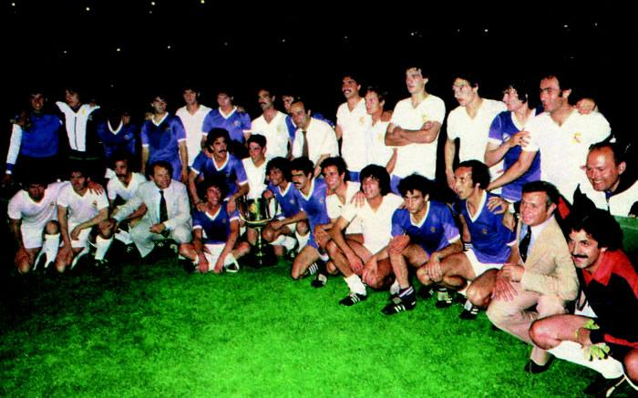 After the parties, both teams posed for the press happy. He had won the Real Madrid.