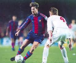 Enjoy Laudrup rezaba a banner in the Camp Nou