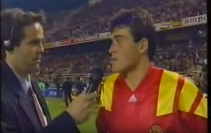 Luis Enrique in the Spain-Denmark