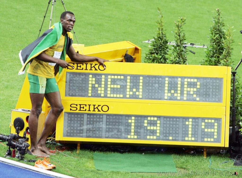 Usain Bolt brach den Rekord der Welt 200 Meter in Berlin.