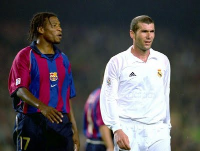 Philippe Christanval and Zinedine Zidane during a classic.