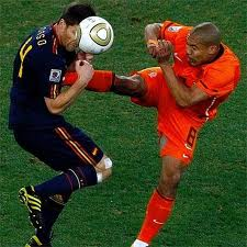 This kick Nigel De Jong to Xabi Alonso made history. The referee Howard Webbs not expelled