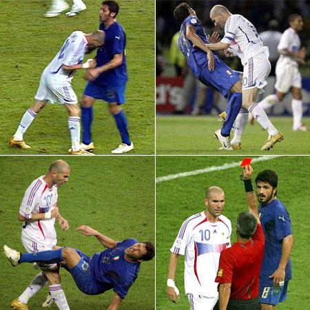 Zidane zog sich mit dem berühmten Kopf-Butting Materazzi.