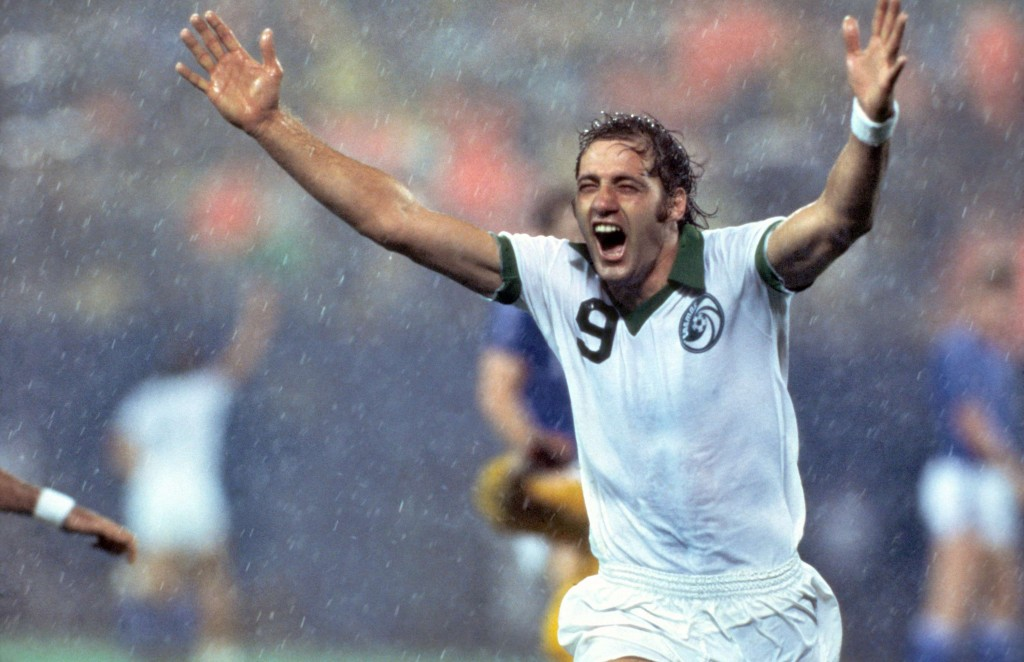 Giorgio Chinaglia celebrates a goal with the New York Cosmos.