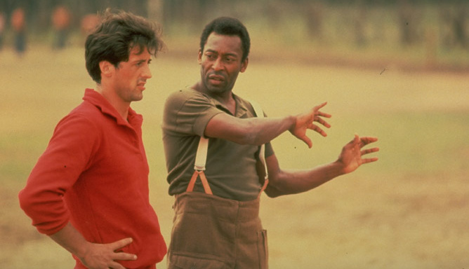 Pelé alongside Stallone in the filming of Escape to Victory.
