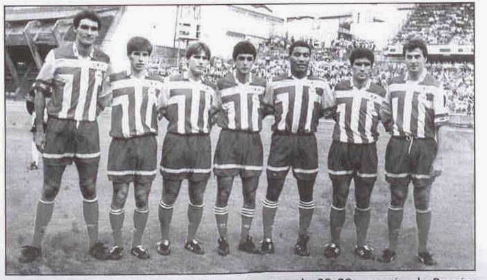 Mauro Silva and Bebeto with the rest of the signings of Depor in 1992.