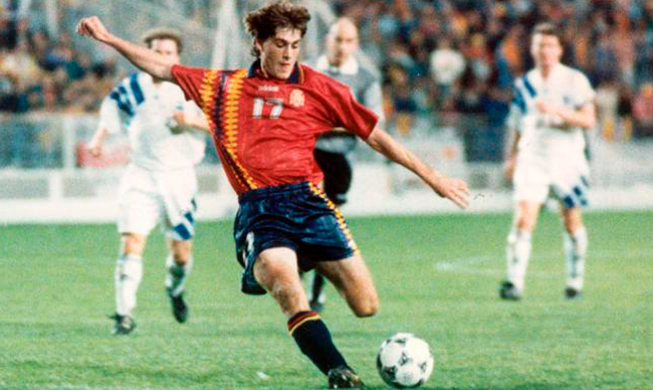 Julen Guerrero with the shirt of Spain in 1994
