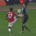 Nani was sent off for a controversial entry Arbeloa.