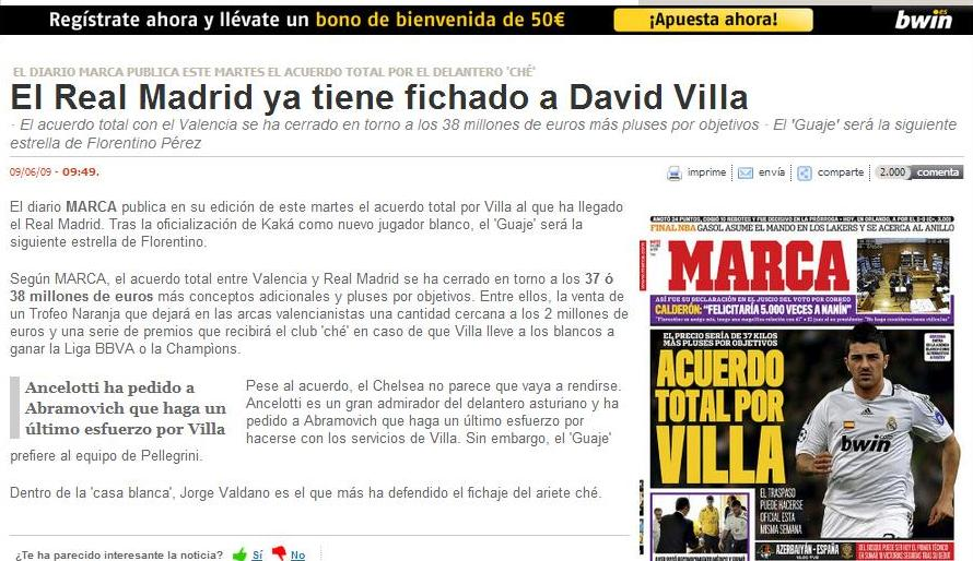 Villa went the Barcelona.