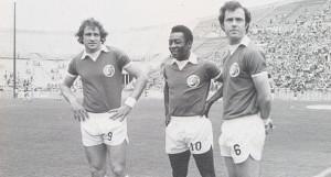 Chinaglia, Y Pele, Franz Beckenbauer, Three of the players New York Cosmos legend