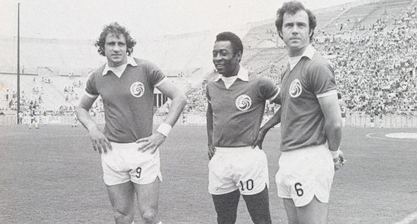 Chinaglia, Y Pele, Franz Beckenbauer, Drei der Spieler New York Cosmos Legende