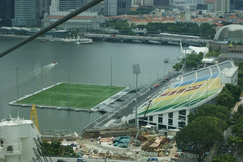 El Marina Bay es uno de los estadios más raros del mundo.