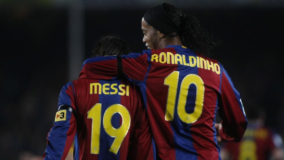 Ronaldinho y Messi Barcelona