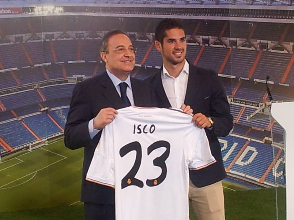 Florentino Perez poses proudly with his new galactic