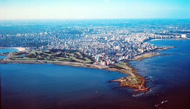 Montevideo is surrounded by water.