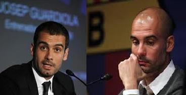 Guardiola a su llegada al banquillo del Barcelona en el 2008  y a su salida en 2012. El desgaste es evidente.