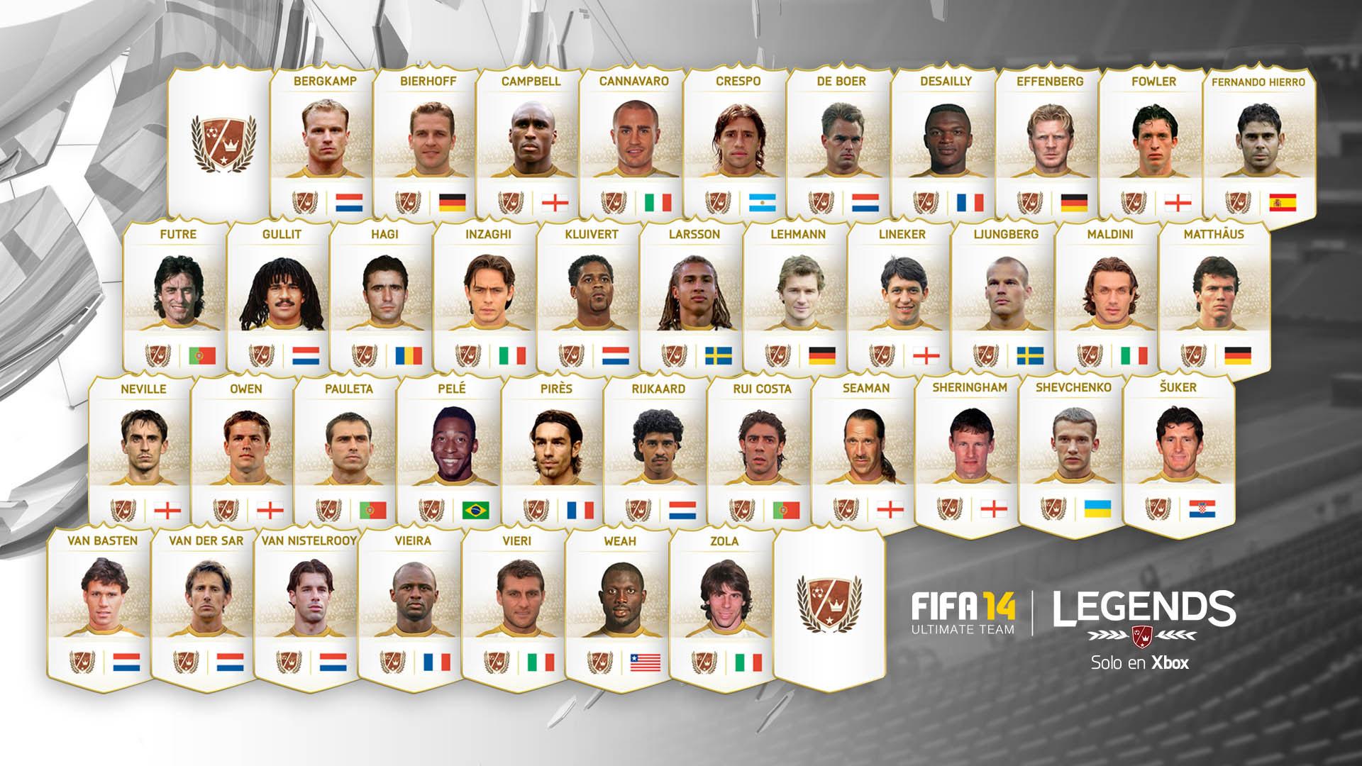Imagen de las leyendas que saldrán en FIFA14.
