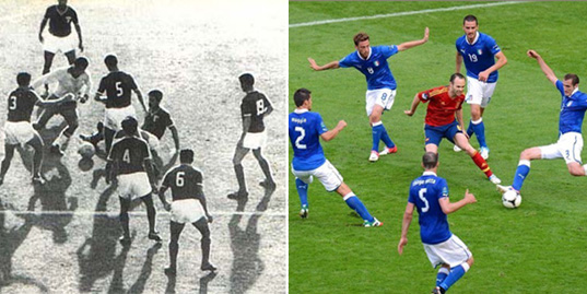 Iniesta reminded Garrincha in Euro 2012 in their match against Italy.