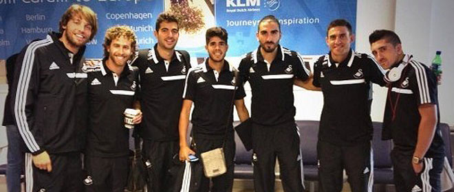 From left to right: Michu, White hair, very, Pozuelo, Chico, Rangel and Pablo Hernandez