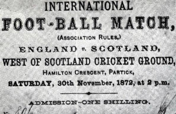 England and Scotland played the first international match in history.
