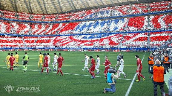 Impresionante vista de un tifo de la afición del Bayern que estará en PES 2013.