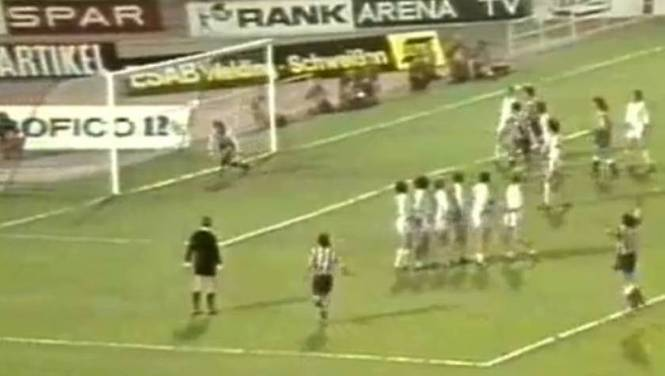 The famous goal by Luis Aragones to Bayern in the final of the European Cup 74.