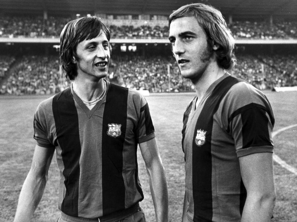 Neeskens y Cruyff, dos mitos del Barcelona y Holanda.