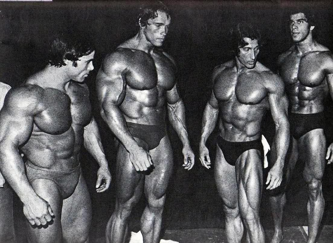 Franco Columbu, Arnold Schwarzenegger , Frank Zane is Lou Ferrigno, old school pure.