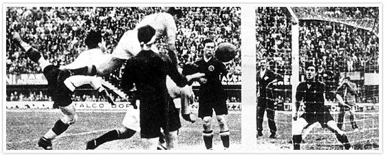 The famous illegal goal from Italy to Spain in 1934.