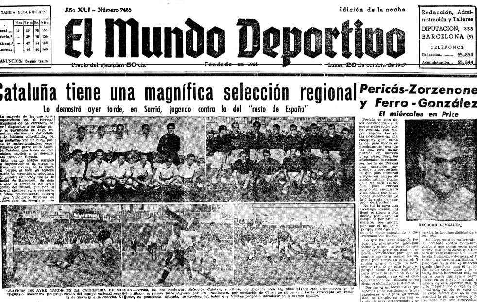 Catalunya beat Spain 3-1 in 1947. Mundo Deportivo was well aware of it.