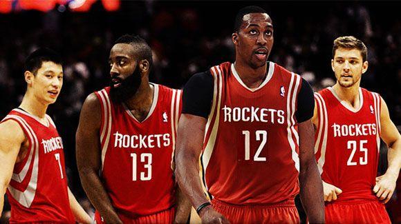 De izquierda a derecha: Lin, Harden, Howard y Parsons. Los Rockets favoritos en la División Sureste.