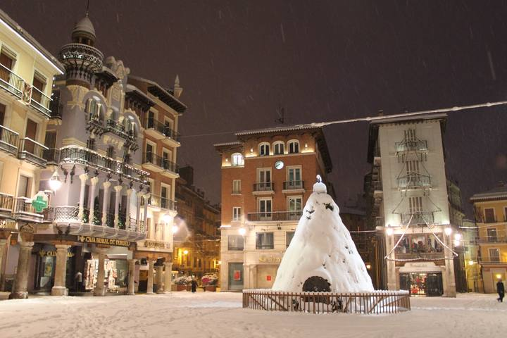 Torico Square covered with snow.