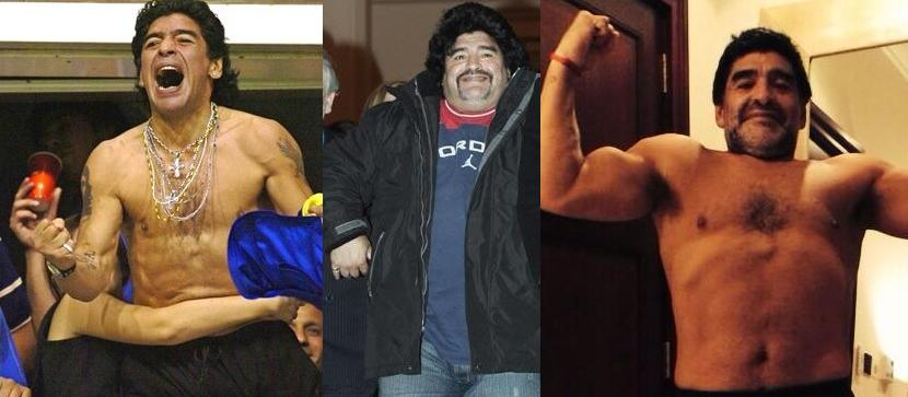 Los cambios físicos de Maradona han sido extremos.