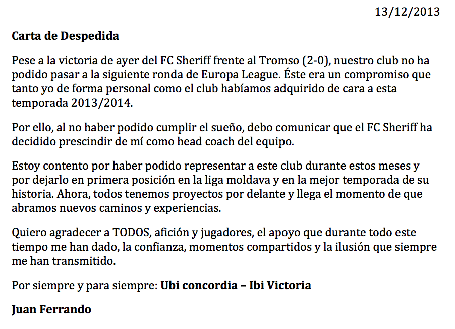 Carta de despedida de Juan Ferrando.