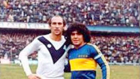 Maradona y Biachi coincidieron como profesionales y luego como entrenador y jugador.