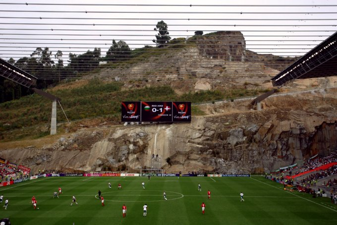 In the picture you can see the rock wall behind a goal.