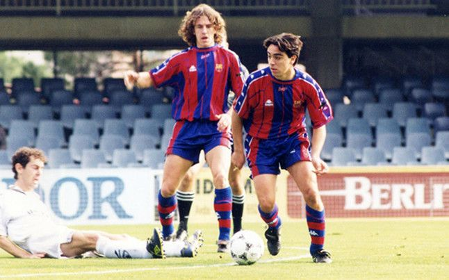 Puyol and Xavi when they played at Barcelona B.