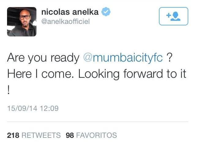 This is how Anelka has announced on her official Twitter her signing for Mumbai City in India.