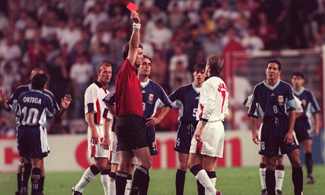 That red against Argentina marked Beckham's career a lot.