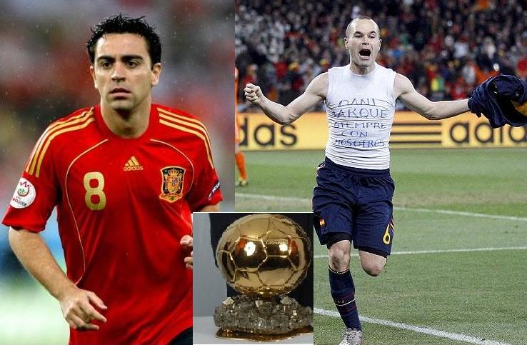 Xavi and Iniesta have never won the Ballon d'Or.