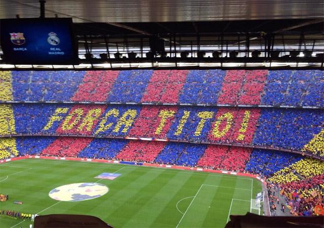 El Camp Nou se volcó con la enfermedad de Tito.