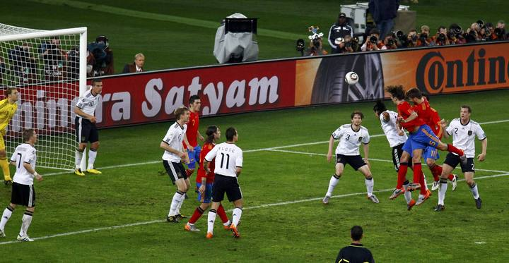 Puyol scored with a header against Germany 2010.