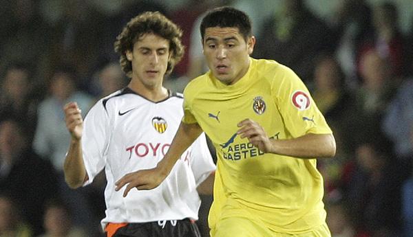 Aimar con el Valencia, Riquelme con el Villarreal. Eran otros tiempos.
