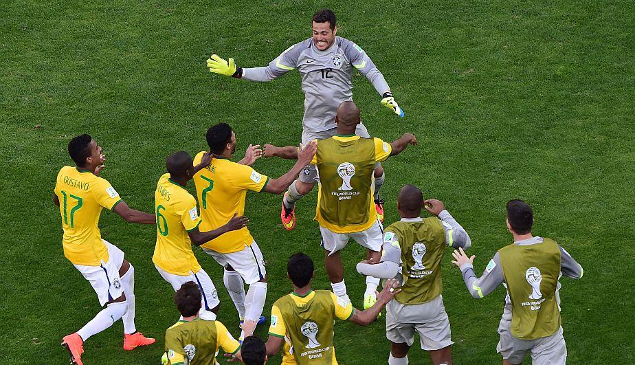 Así celebraron los jugadores brasileños la clasificación en la tanda de penaltis.